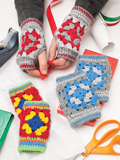 A Granny Square Christmas - mittens